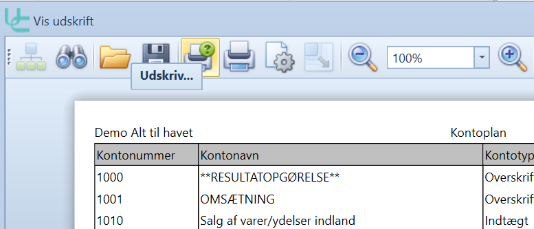, Utskriv rapporter og skjermbilder, Uniconta