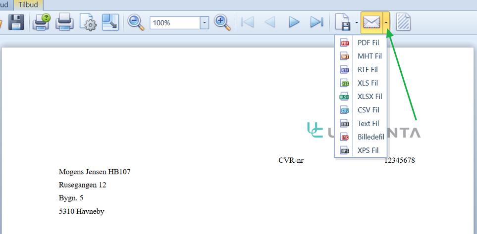, Send utskrifter og data som e-mail, Uniconta