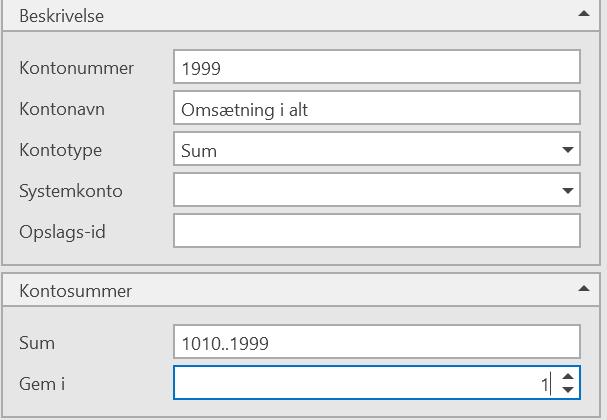 kontotyper, Kontotyper i kontoplanen, Uniconta