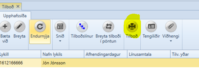 , Senda skýrslur og gögn í tölvupósti, Uniconta