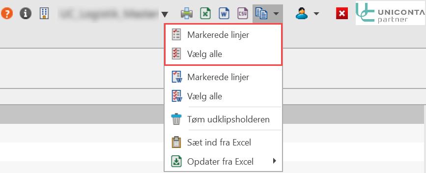 , Excel, export og import, Uniconta