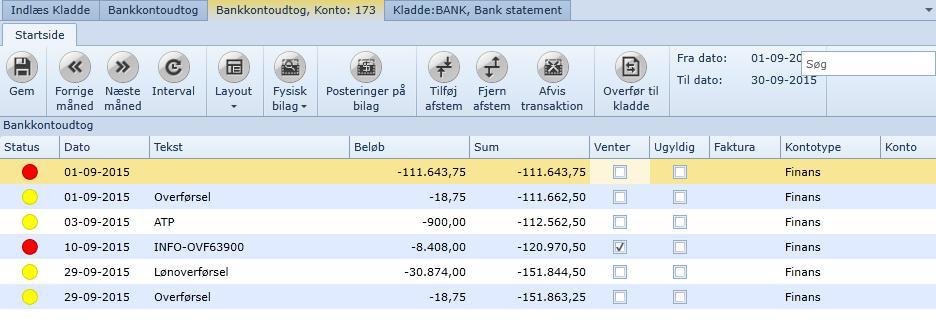 , Bank Management / Bank reconciliation, Uniconta