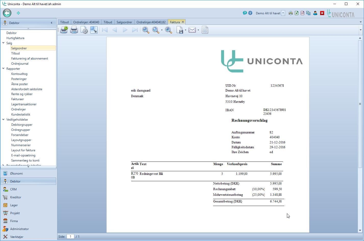 , Salg – Tilbud, Uniconta