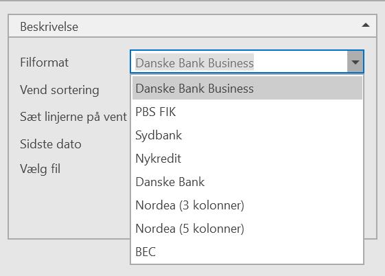 bankkontoudtog, Indlæsning af bankkontoudtog, Uniconta
