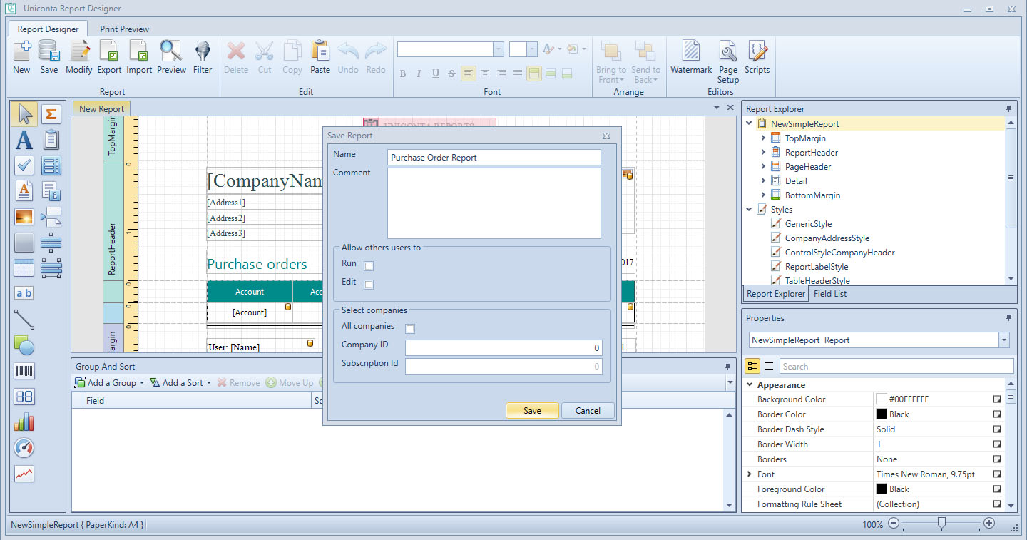 , Create a report to be viewed externally, Uniconta