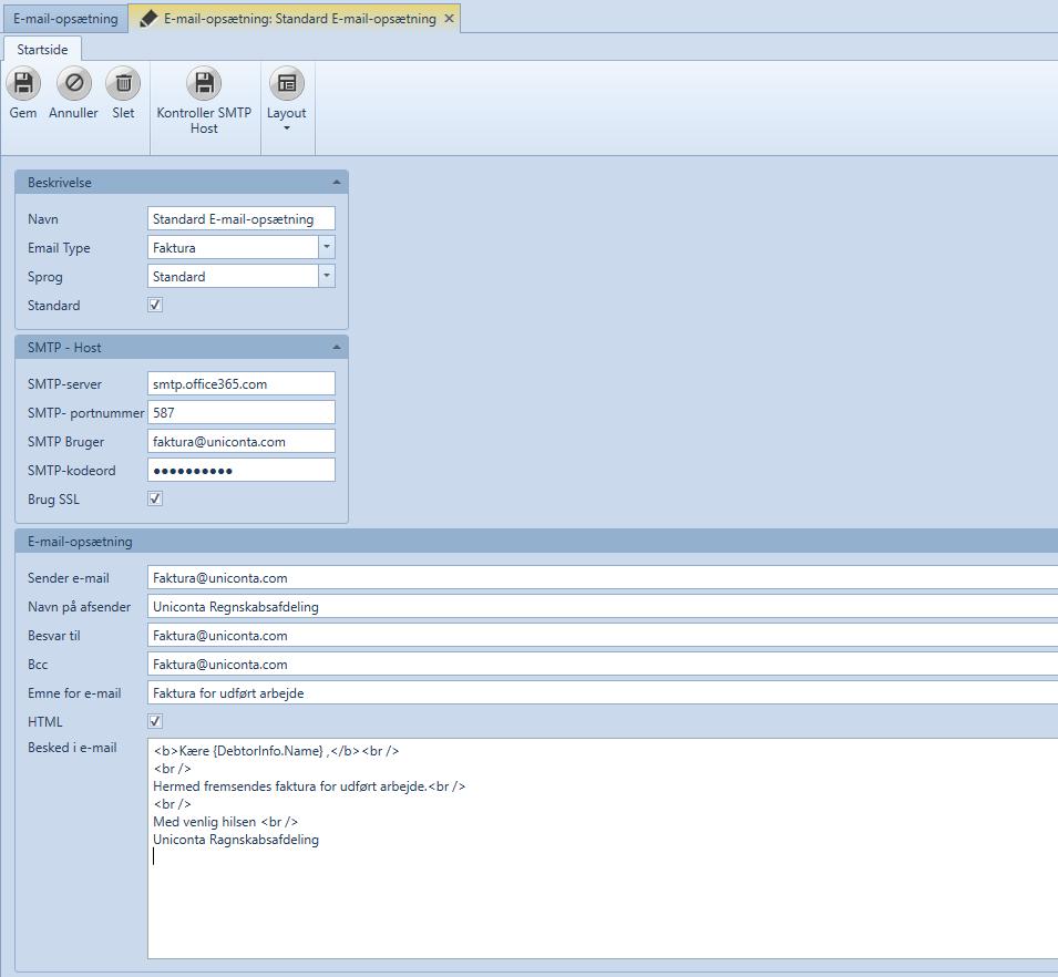 E-mail opsætning til afsendelse