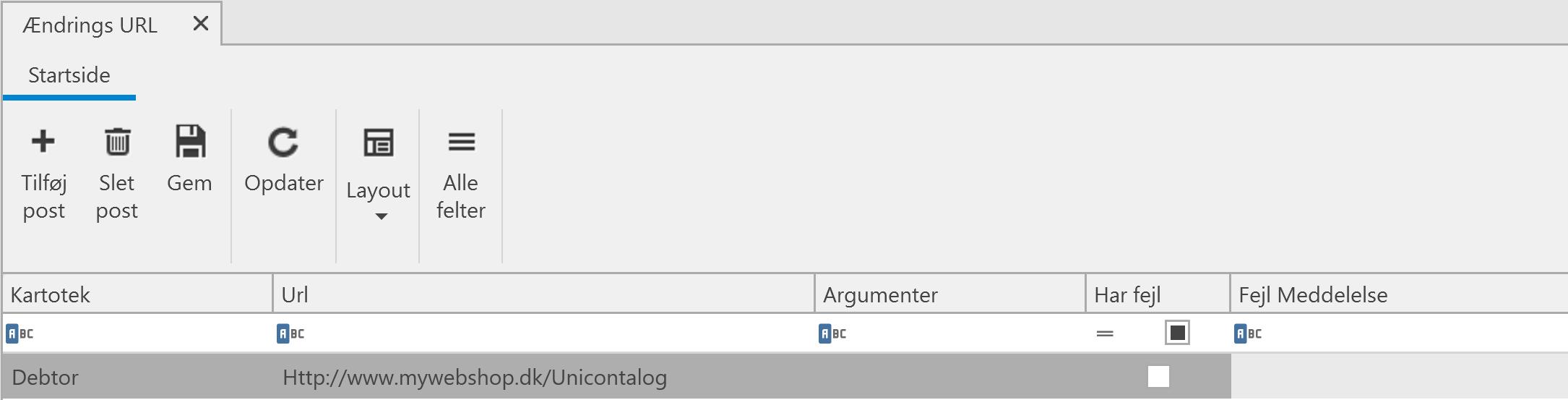, Ændrings URL, Uniconta