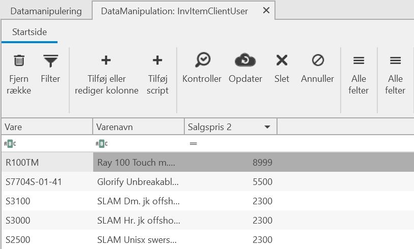 , Datamanipulation, Uniconta