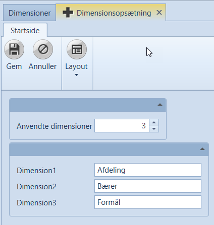 , Dimensjoner, Uniconta