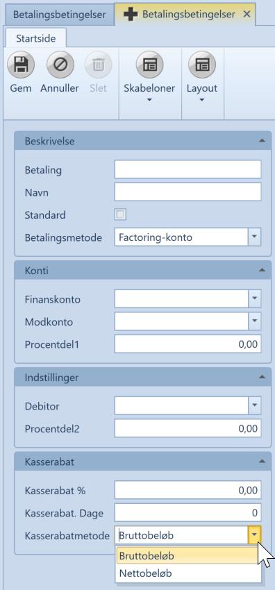 , Betalingsbetingelser, Uniconta