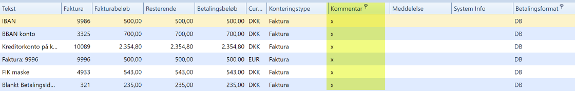 , Betalingsmodulen, Uniconta