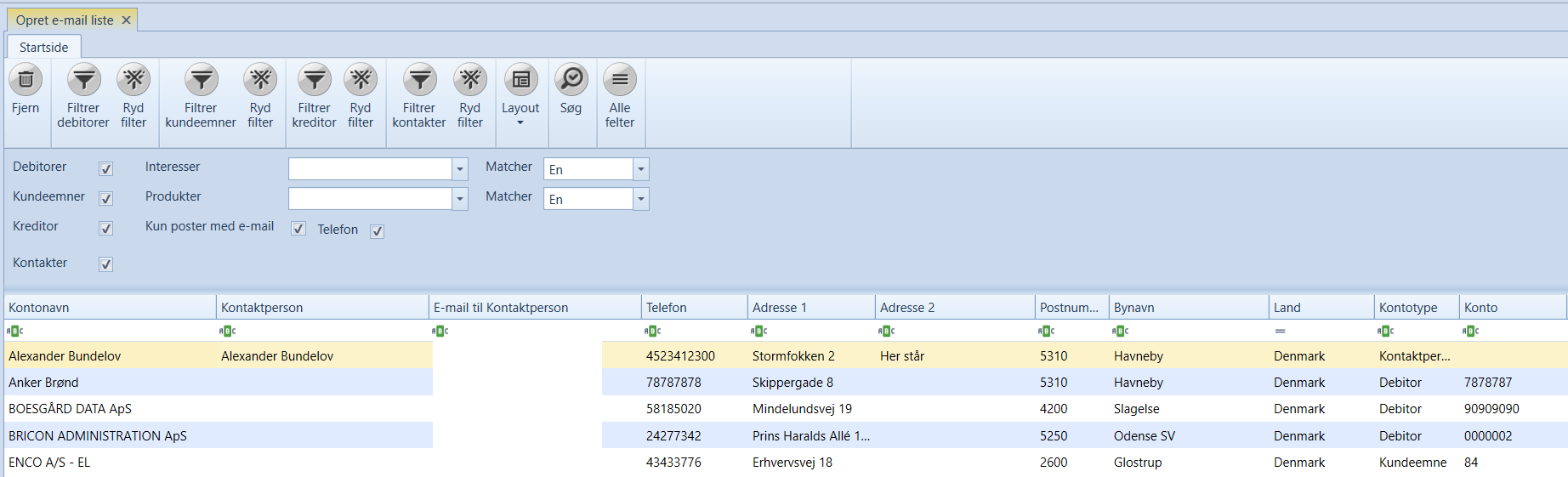 Uniconta | Opret E-mail liste | Uniconta