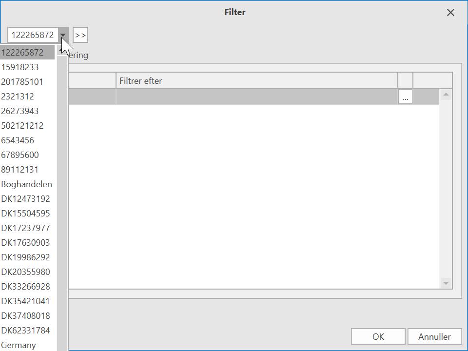 , Filter/Ryd Filter, Uniconta