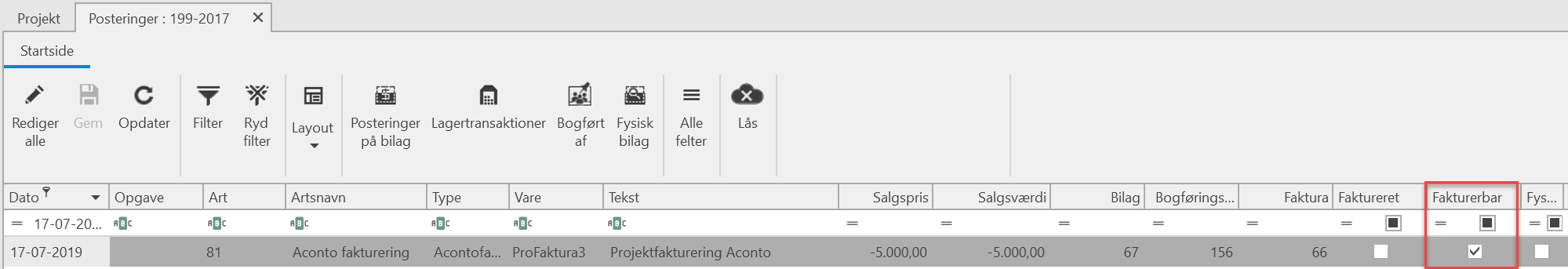 , Aconto fakturering, Uniconta