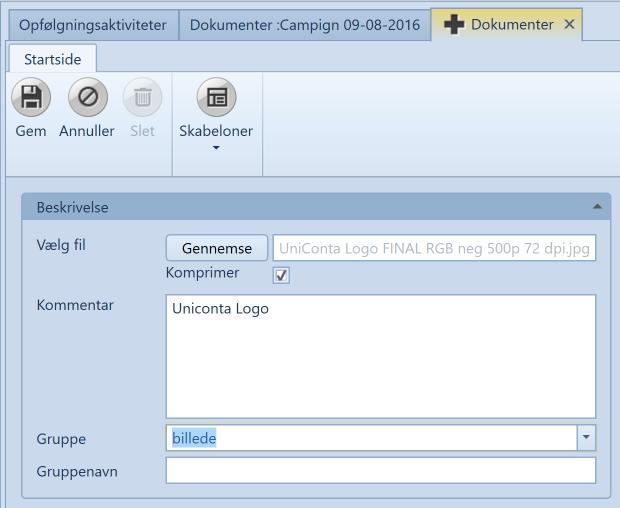 , Vedlagte filer, Uniconta