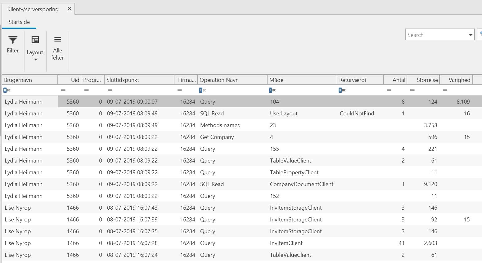 , Klient-/Serversporing, Uniconta
