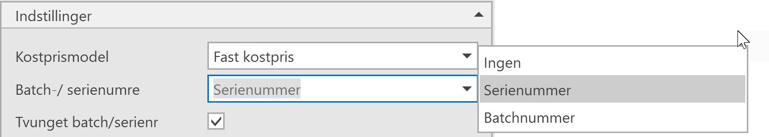 , – Opsætning af Batch- og serienummer, Uniconta