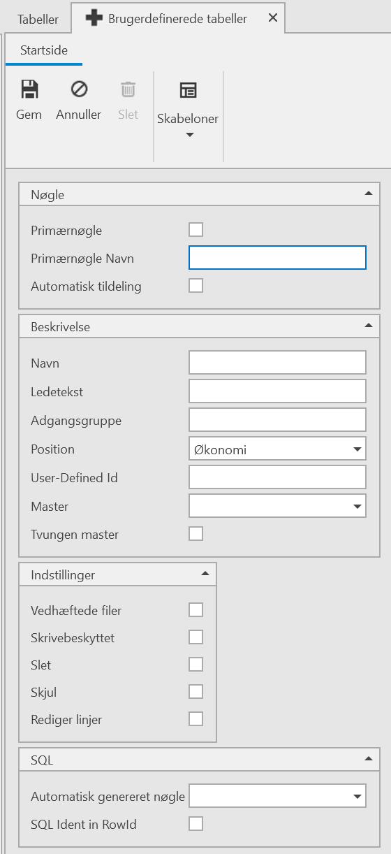 , Brugerdefinerede tabeller, Uniconta