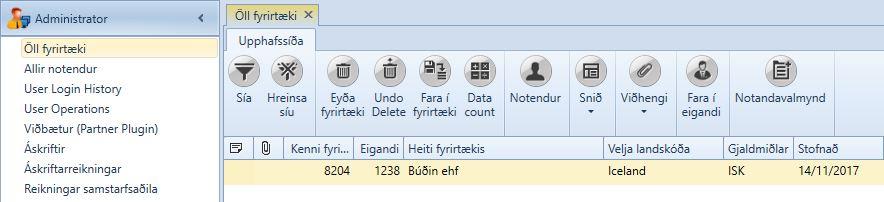, Öll fyrirtæki (Univisor), Uniconta