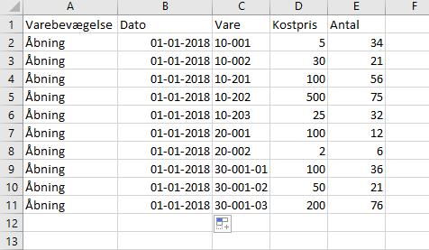 CSV-fil for import av åpningsoppføringer i lagerjournalen