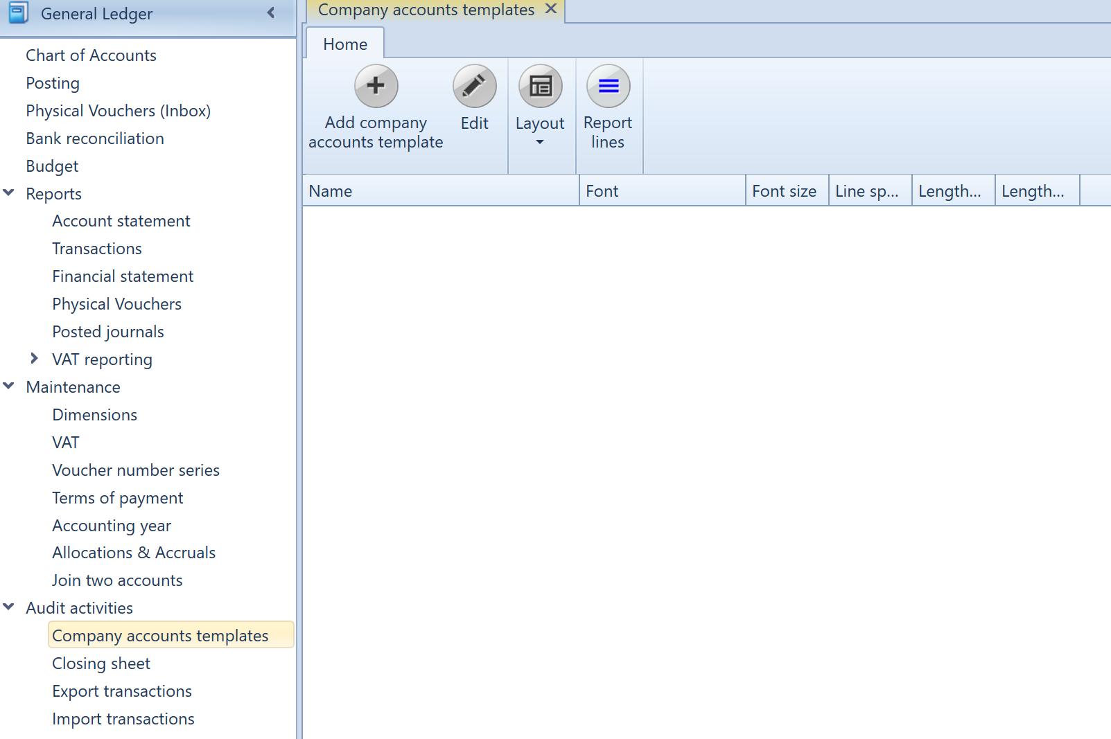 , Company accounts templates, Uniconta