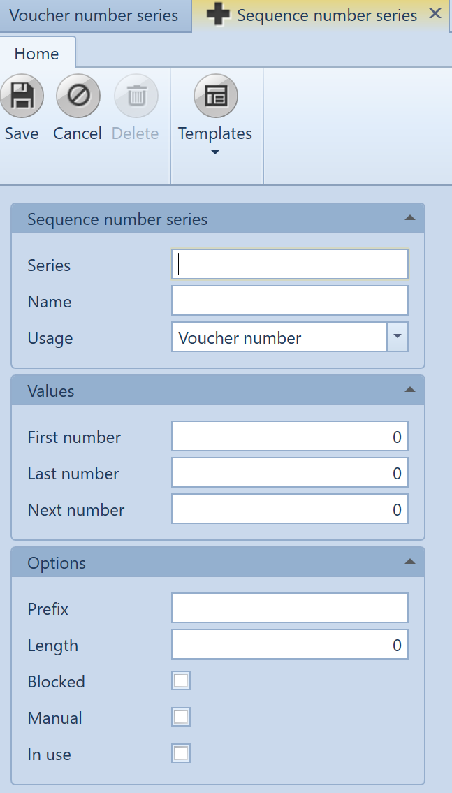 , Automatic allocation of number series, Uniconta