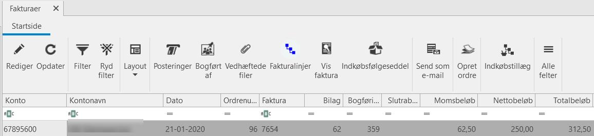 , Indkøbsfakturaer, Uniconta