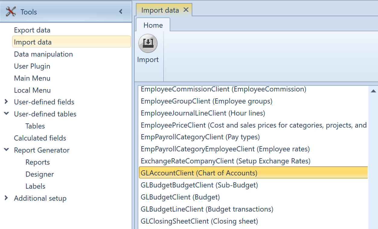 Own Chart of Accounts, Import a Chart of Accounts, Uniconta