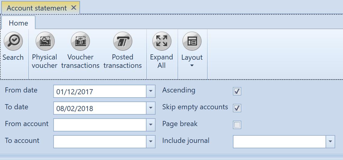 , Account statements, Uniconta
