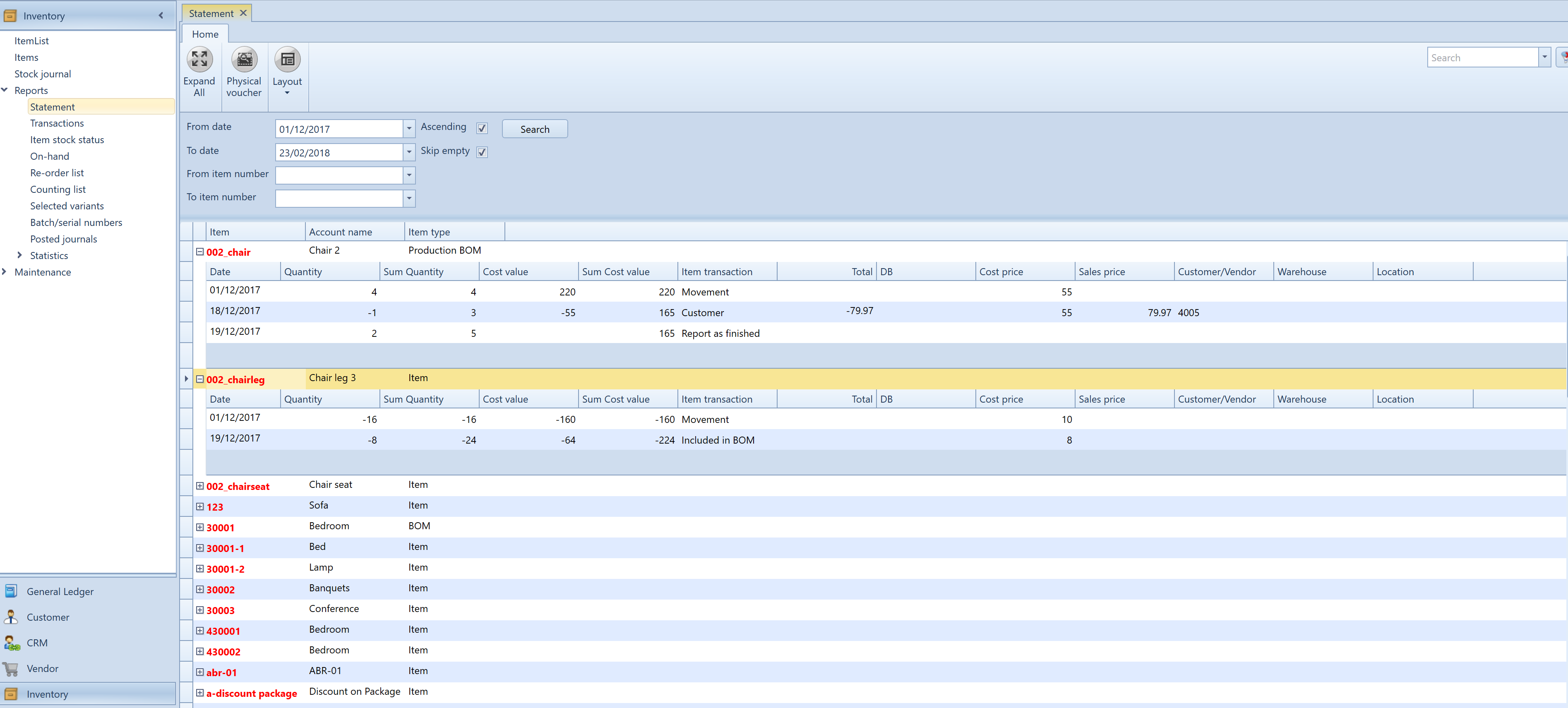 , Inventory account statement, Uniconta