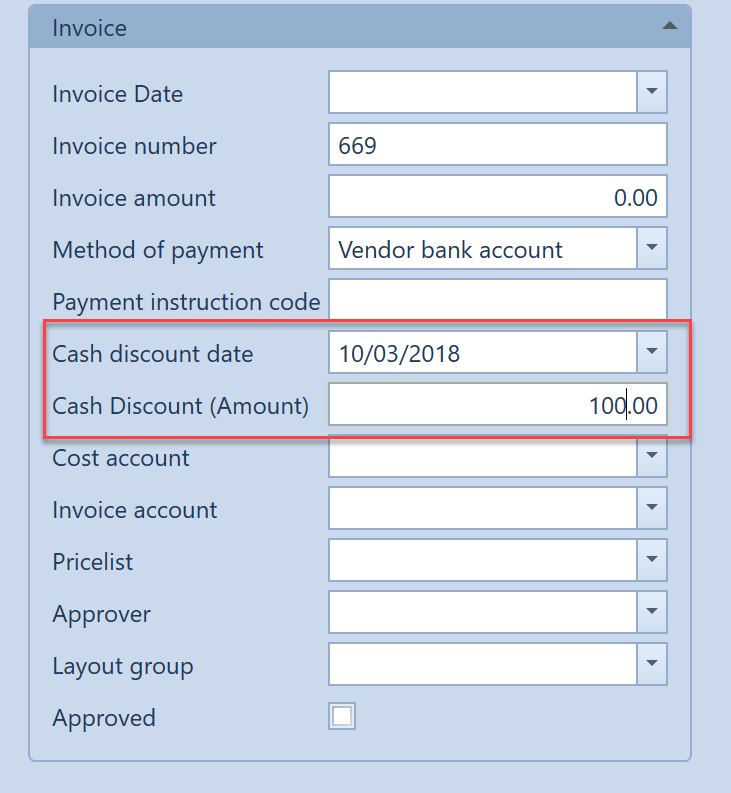 , – Managing cash discounts, Uniconta