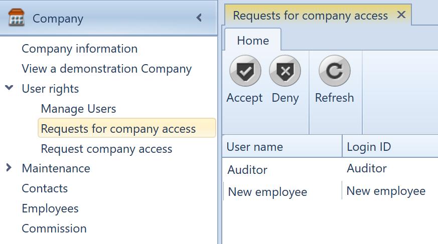 , Requests for company access, Uniconta