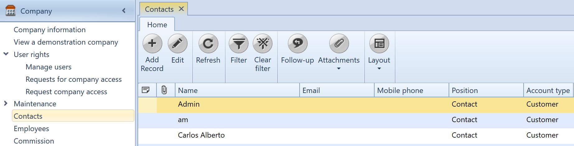 , Customer and Vendor E-mail setup, Uniconta