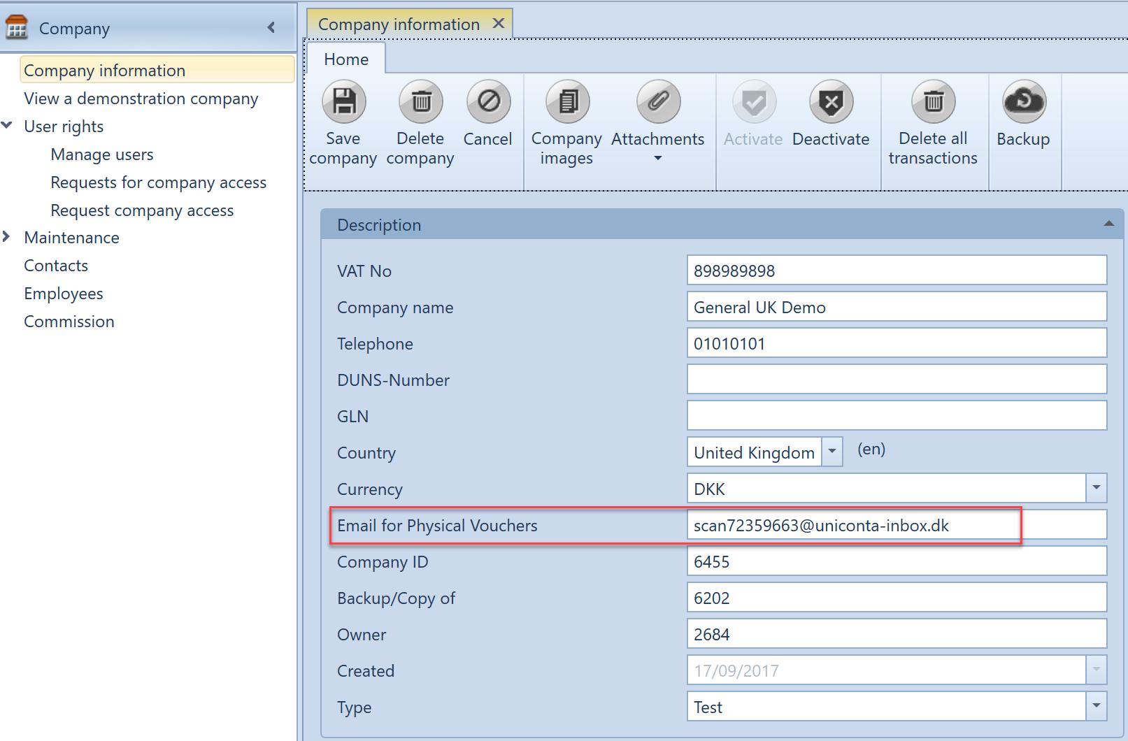 , Forwarding e-mails to Uniconta, Uniconta