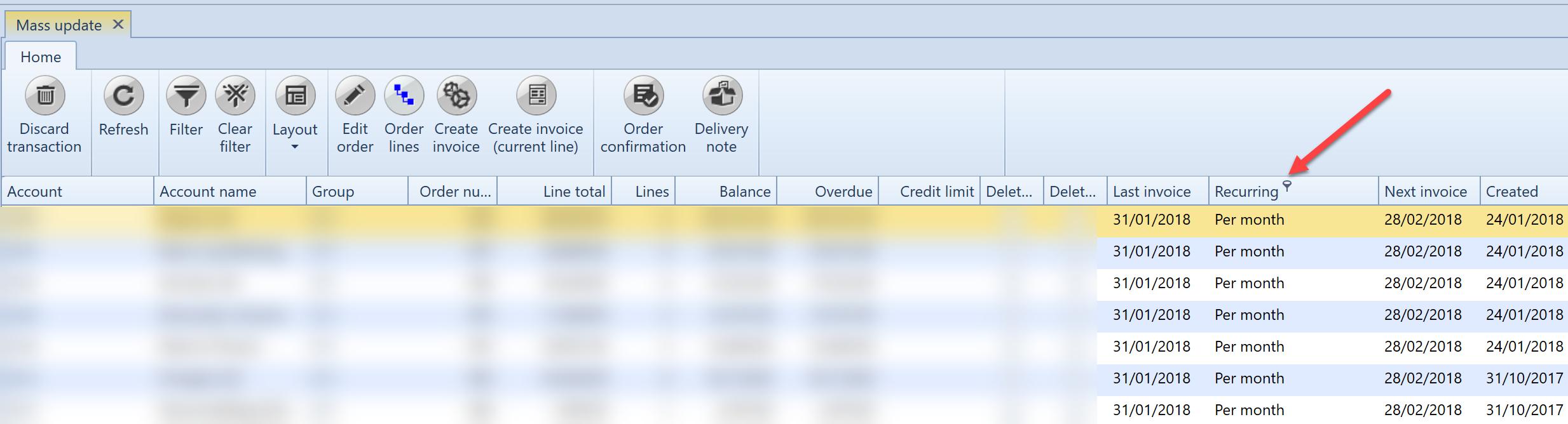 , Mass update, Uniconta