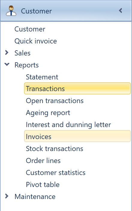 inventory transactions can be viewed in the inventory module either under