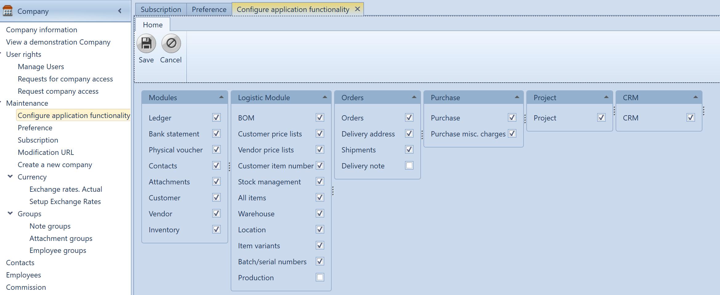 , Configure application functionality, Uniconta