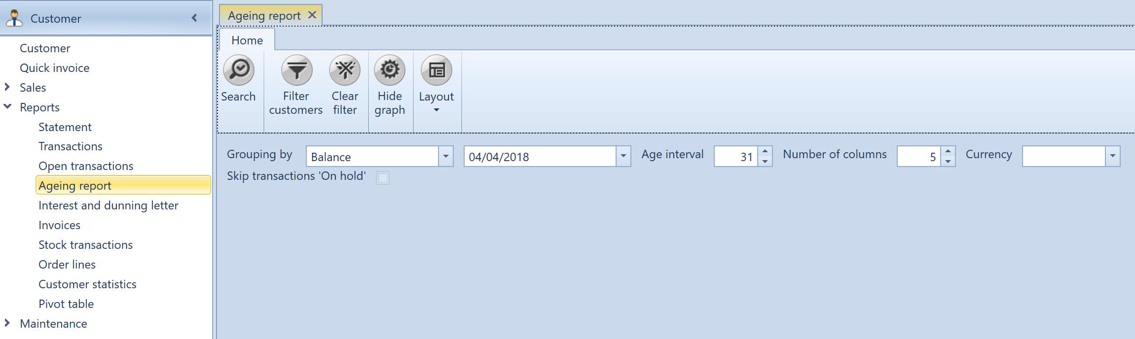 , Ageing report, Uniconta