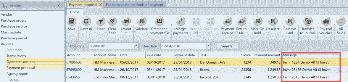 , – Setting up messages for vendor payments, Uniconta