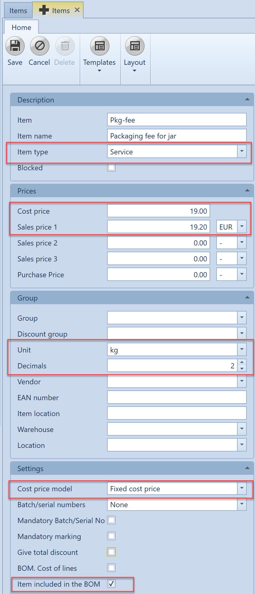 , – Handling packaging fees, Uniconta