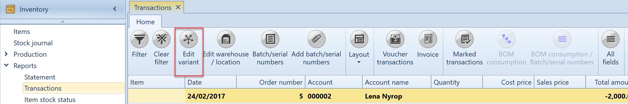 , Inventory transactions, Uniconta