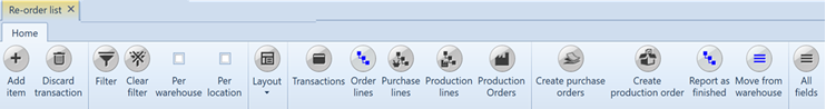 , Re-order list, Uniconta