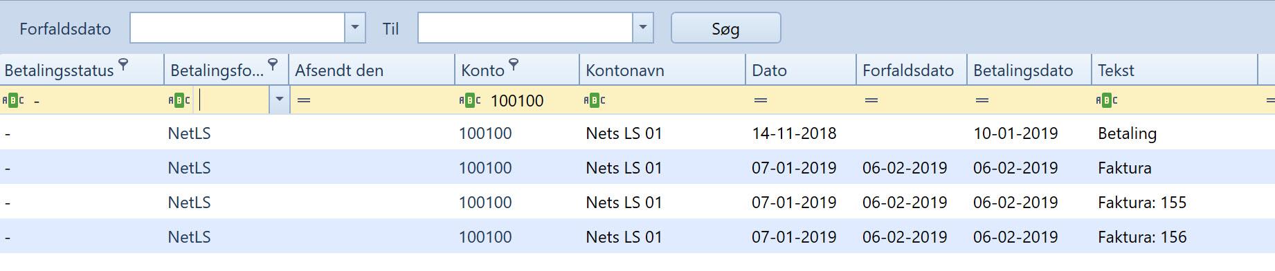 , Betalingsforslag (Nets), Uniconta