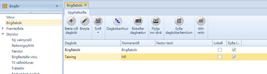 , Birgðabók, Uniconta
