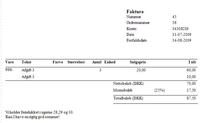 , Afgiftsgrupper, Uniconta