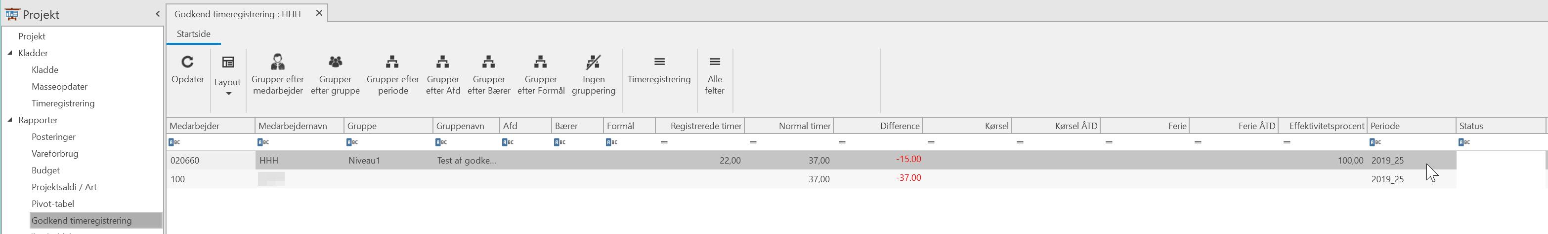 , Godkend timeregistrering, Uniconta