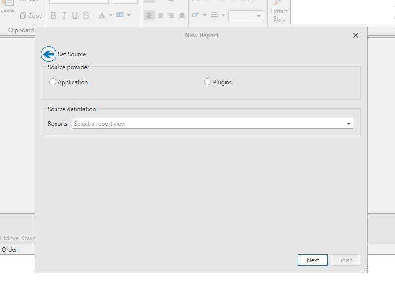 Source Screen to setup the custom source