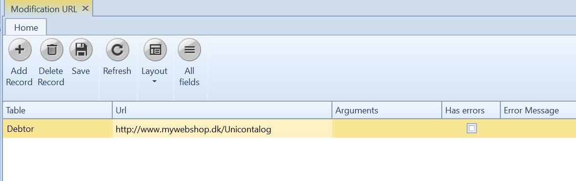 , Modification URL, Uniconta