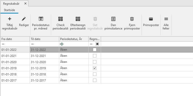 , Nyt regnskabsår, årsafslutning og dan primo, Uniconta