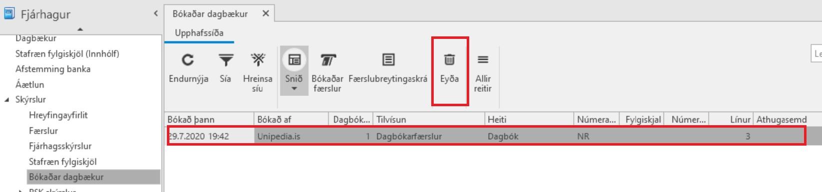 Dagbók, Hætta við fylgiskjal, eyða dagbók, eyða færslu, Uniconta
